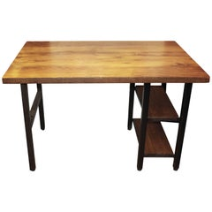 Reclaimed Oakwood Top Desk with Steel Legs and Two Shelves