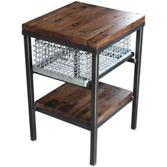 Galvanized Storage Basket Nightstand End Table with Shelf Using Wood Flooring