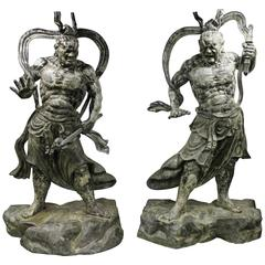 Monumental Pair of Impressive Japanese Bronze Nio Buddha Guardian Statues