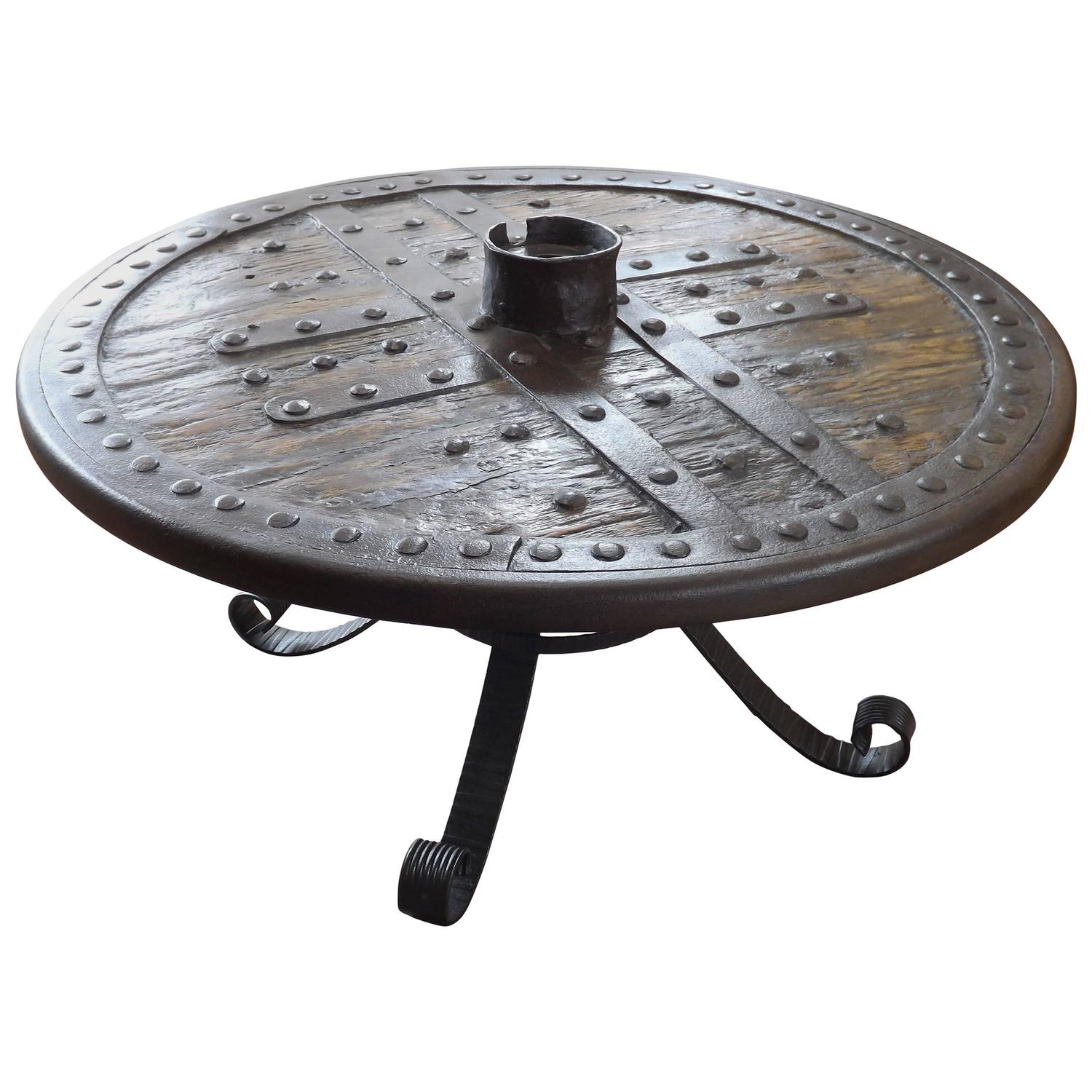 Medieval Forged Iron And Hardwood Wagon Or Chariot Wheel Coffee Table At 1stdibs