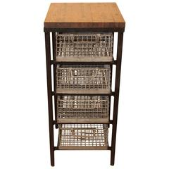 Four-Tier Galvanized Basket Shelving Stand with Industrial Wood Flooring Top