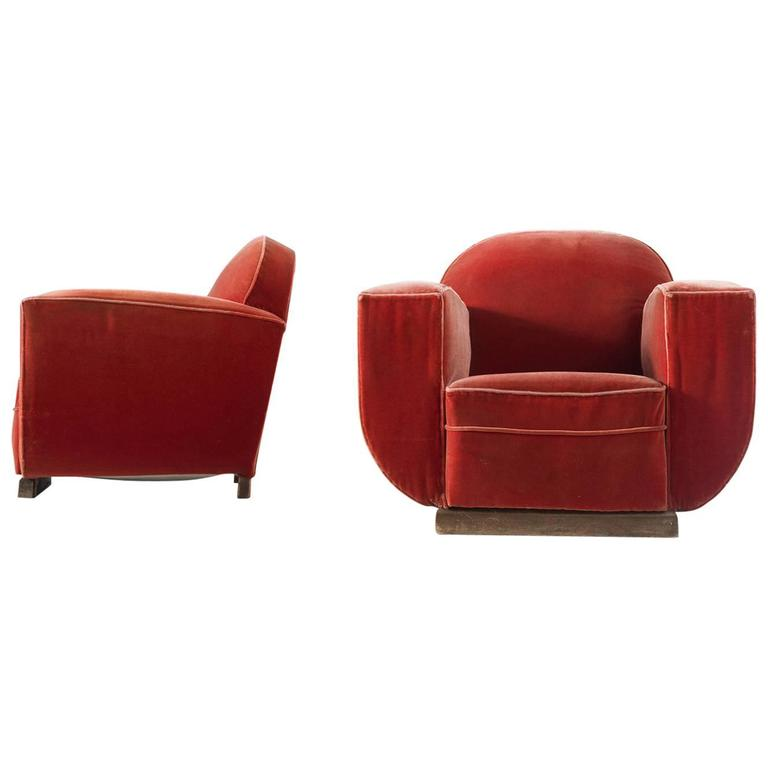 Pair Of French Art Deco Club Chairs In Red Mohair Upholstery For