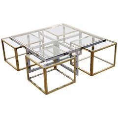Chrome Coffee Table with Four Brass Nesting Tables by Maison Charles