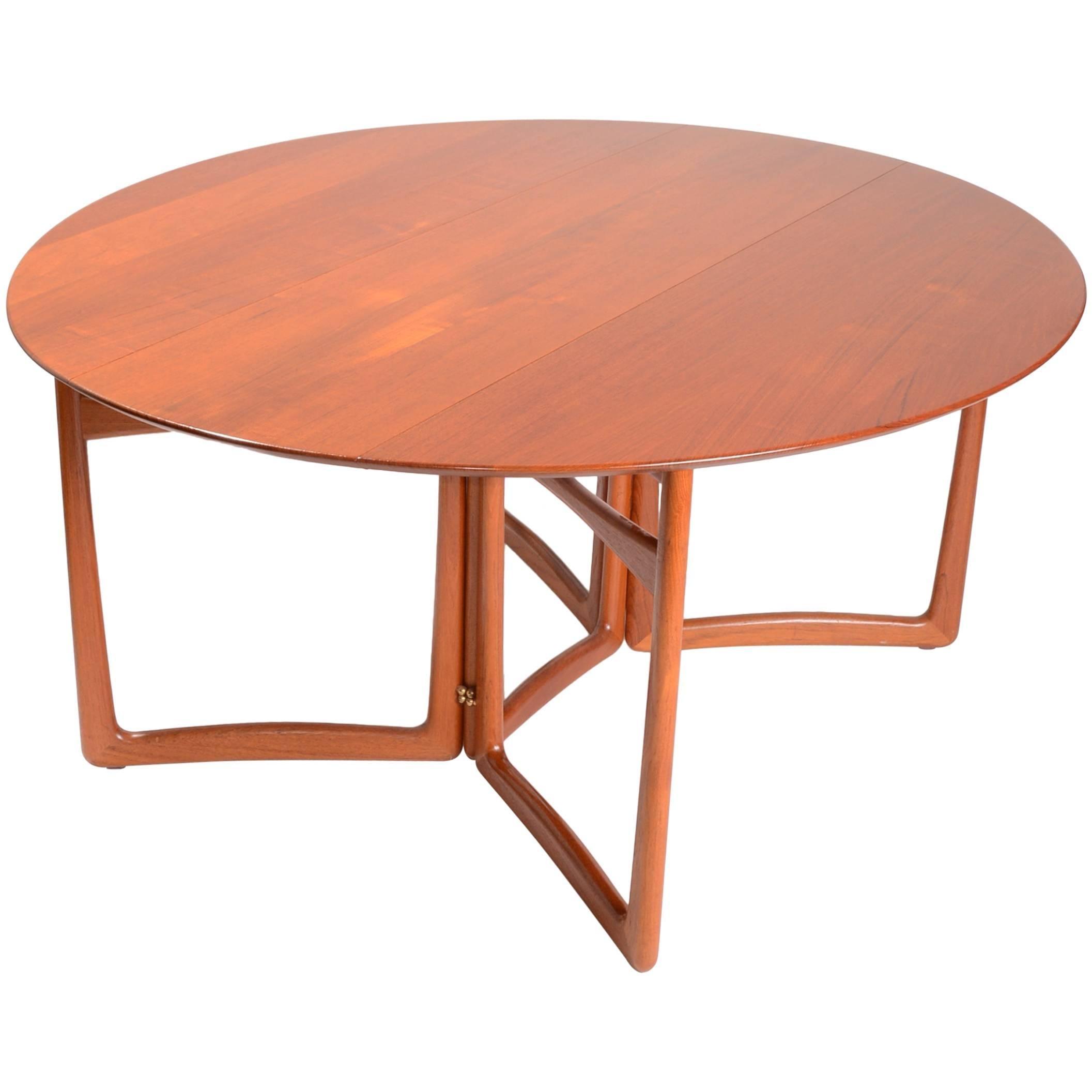 Solid Teak Drop-Leaf Dining Table by Peter Hvidt and Orla Mølgaard-Nielsen