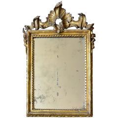 Small Italian 18th Century Rococo Gilt Carved Mirror