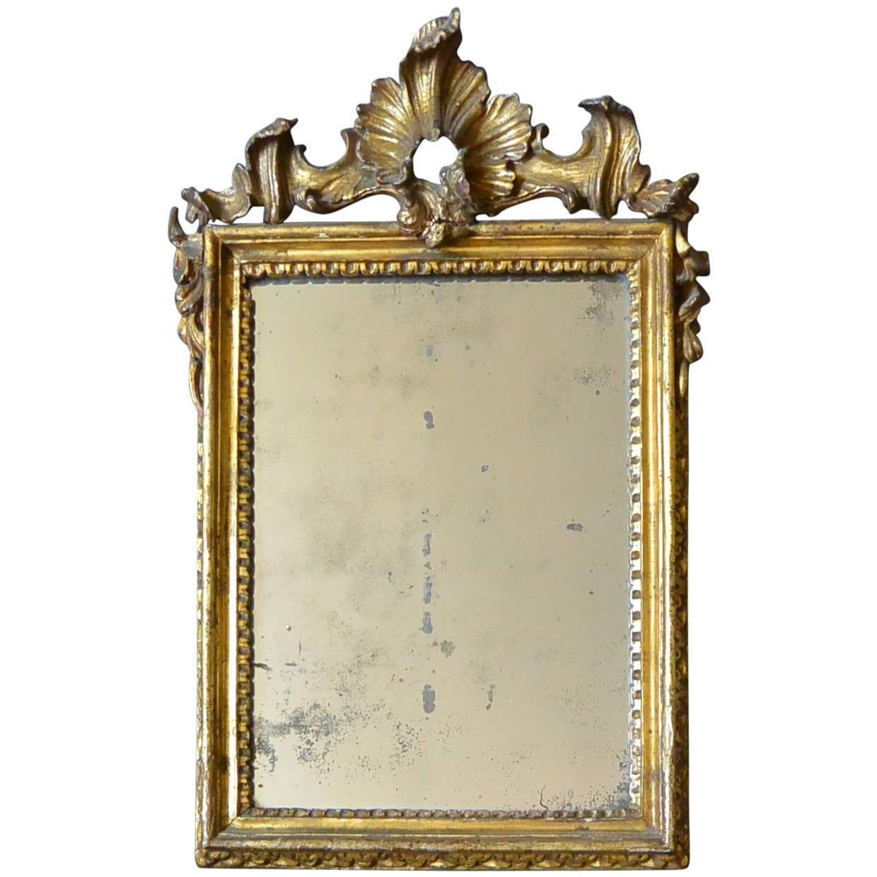 Small italian 18th century rococo gilt carved mirror for for Small wall mirrors for sale