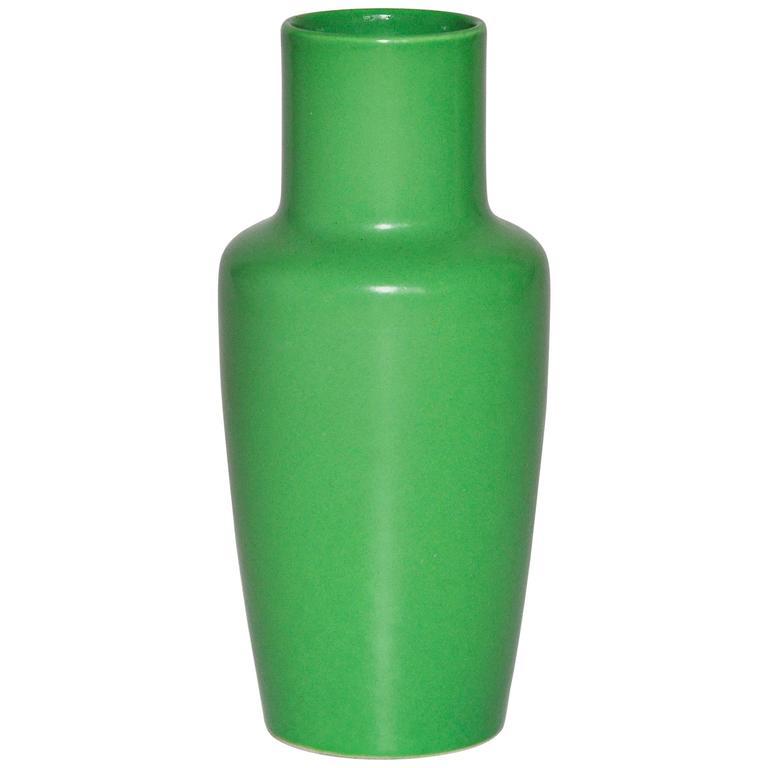 Art Deco Ruskin Ware English Green Ceramic Pot Vase For Sale At 1stdibs