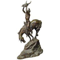 Bronze Sculpture of Native American signed C M Russell, circa 1920