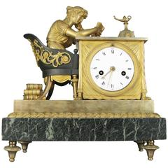 Antique 19th Century French Empire Gilt Bronze and Marble Mantel Clock