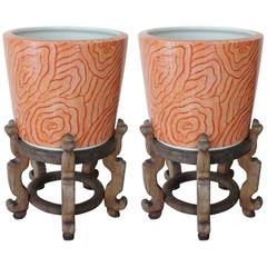 Pair of Asian Style Cachepots Attributed to Karl Springer