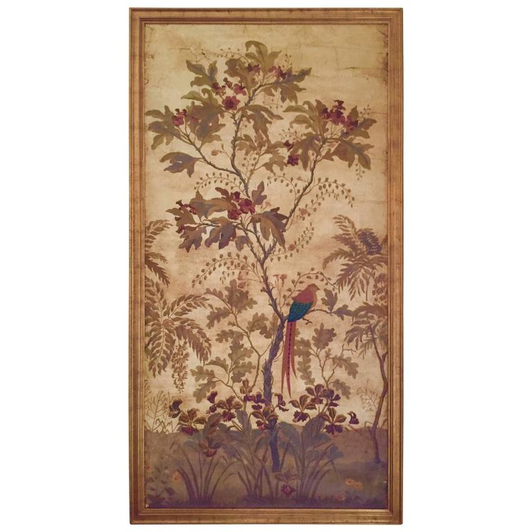 Large Decorative Painted Panel in Gilt Frame 1