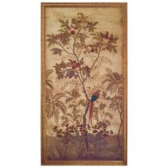 Large Decorative Painted Panel in Gilt Frame