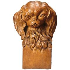 A Continental Oak Bust of a Japanese Chin Dog, Signed: Fr. Lemmens