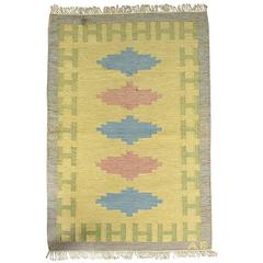 Swedish Yellow and Grey Rollakan Rug