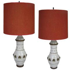Pair of Mid-Century Modern Italian Pottery Lamps by Ugo Zaccagnini, circa 1950s