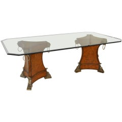 Theodore Alexander Dbl Leather Wrapped Pedestal Dining Table w Beveled Glass Top