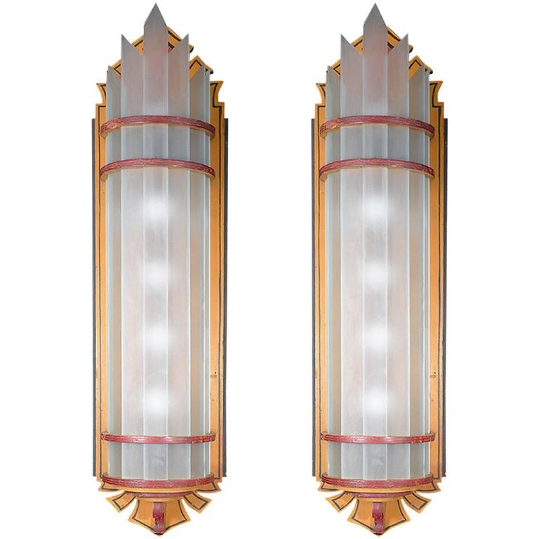 Arts and Crafts Wood and Glass Wall Sconces For Sale at 1stdibs