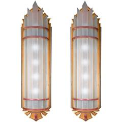 Arts and Crafts Wood and Glass Wall Sconces
