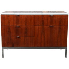 Mid-Century Florence Knoll Rosewood Marble Chrome Credenza