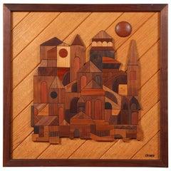 Vintage Wood Geometric Art Piece by David Criner