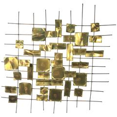 Brutalist Curtis Jere Wall-Mounted Sculpture with Torch-Cut Mixed-Metal Design