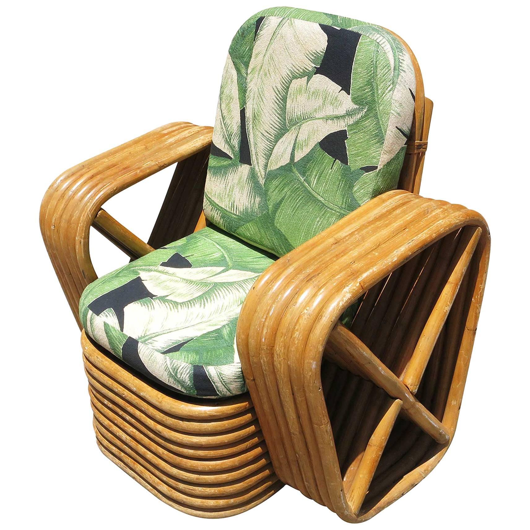 Restored Paul Frankl Square Pretzel Rattan Children's Lounge Chair