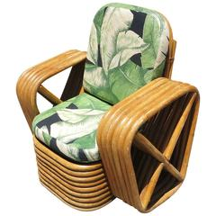 Restored Child's Paul Frankl Square Pretzel Rattan Lounge Chair