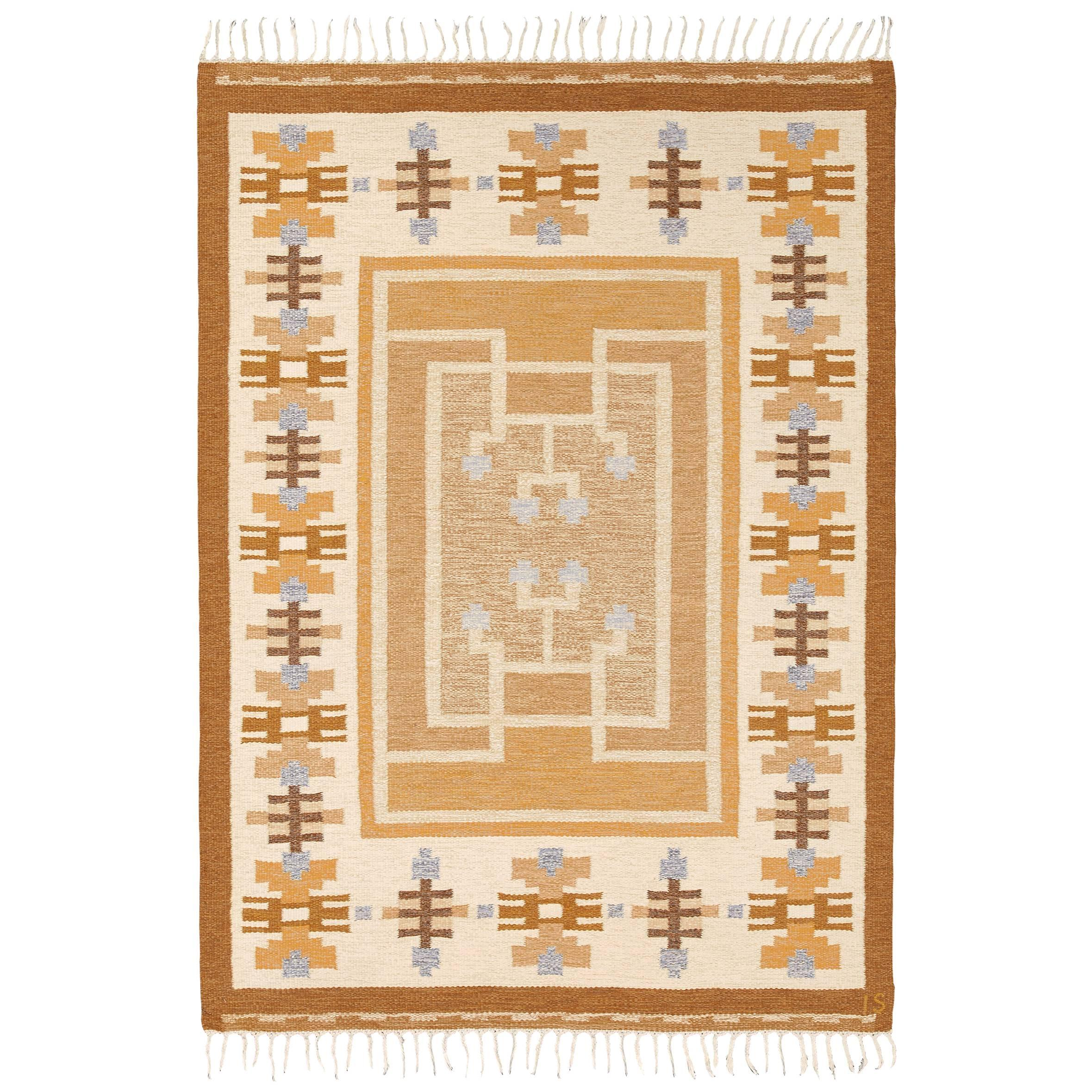 Mid 20th Century Swedish Flat-Weave Carpet by Ingegerd Silow