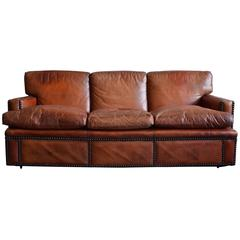 English Leather Upholstered and Nailhead Decorated Sofa, Mid-20th Century