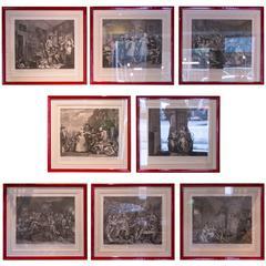 "Set of Eight Engravings ""A Rake's Progress"" by William Hogarth"