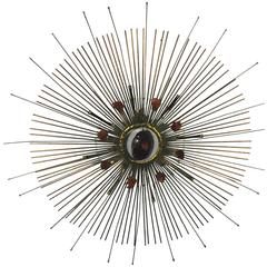 Beautiful Curtis Jere Wall-Mounted Sunburst Sculpture with Removable Center