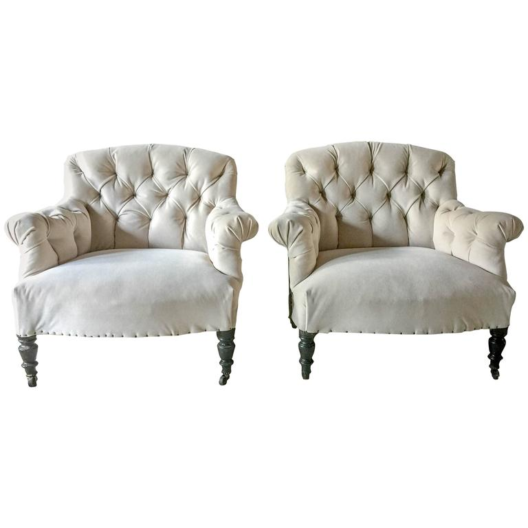 Pair Of Antique French Tufted Salon Chairs For Sale At 1stdibs