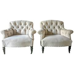 Pair of Antique French Tufted Salon Chairs