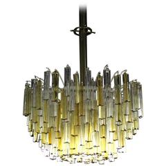 Large Two Tone Gold Yellow and Clear Camer Light Fixture