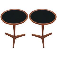 Pair of Hans Andersen Teak Pedestal Side Tables