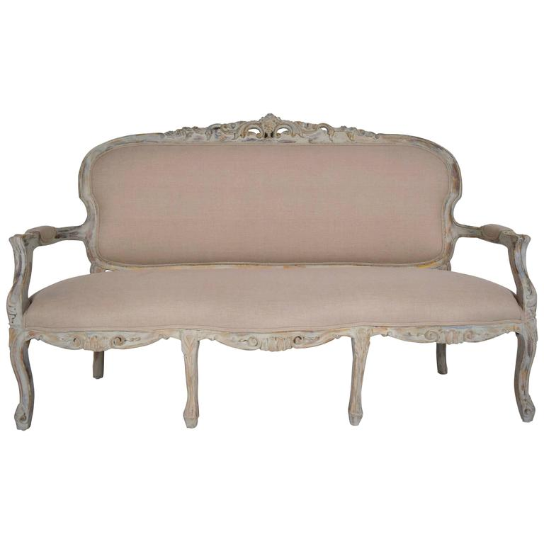 Antique French Louis XV-Style Gilt Painted Carved Sofa For Sale