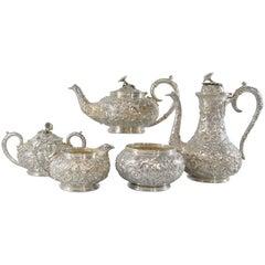 Sterling Repousse Five-Piece Tea Set by S. Kirk & Sons, No Monogram