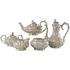 Sterling Repousse Five-Piece Tea Set by S. Kirk & Sons, No Monogram