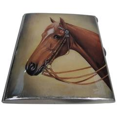 Antique Swiss Silver and Enamel Cigarette Case with Horse