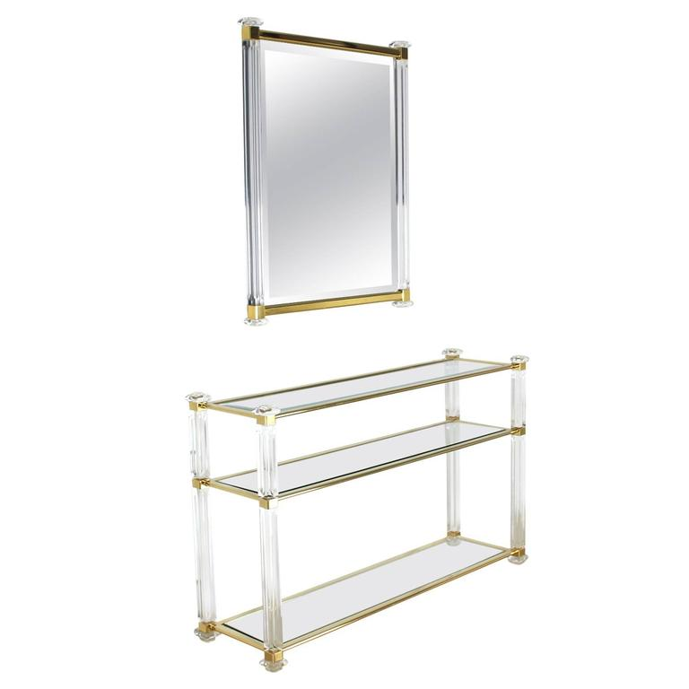 Lucite and Brass Console Table and Matching Mirror