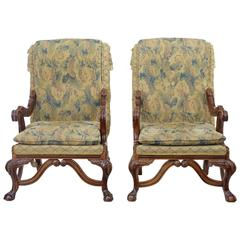 Large Pair of Carved Hardwood Throne Armchairs