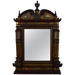 Italian, Probably Venice, Rosewood and Brass Decorated Mirror, 19th Century