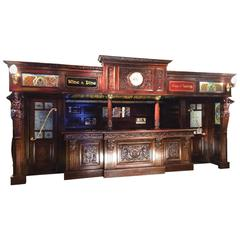 Large Mahogany Hand-Carved Double Door Wine Bar