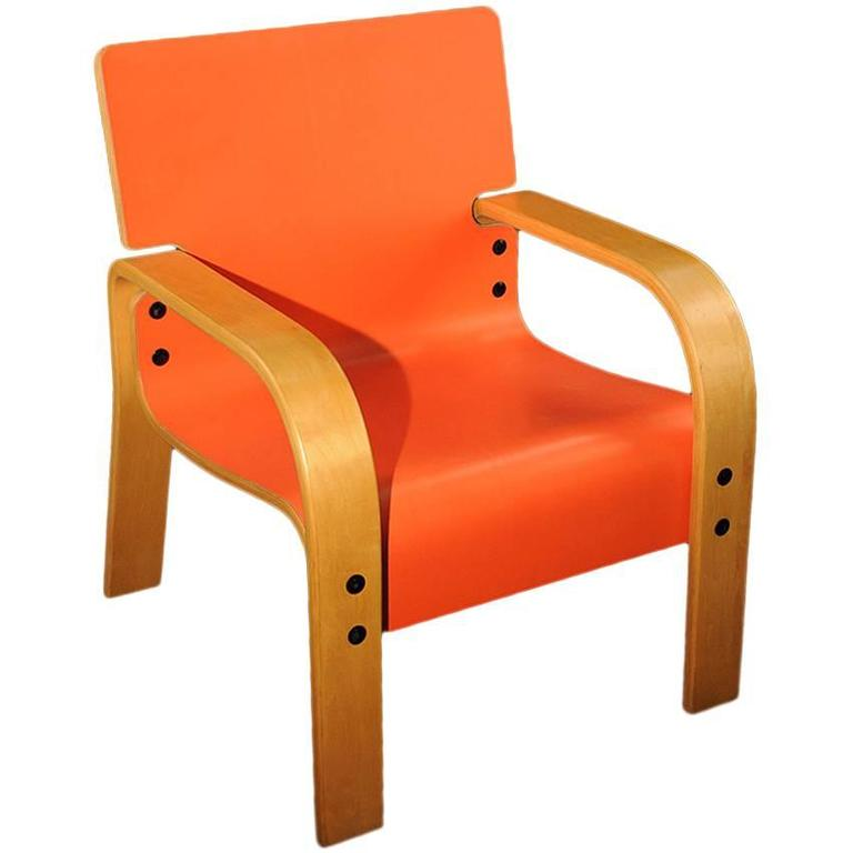 Orange Mid-Century Armchair For Sale