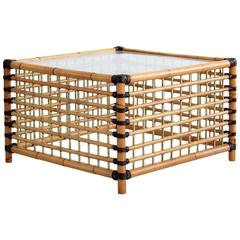 French Bamboo and Leather Coffee Table