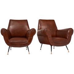 Italian Pair of Mid-Century Modern Studded Armchairs