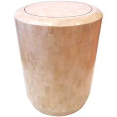 Tessellated Fossil Stone Pedestal by Maitland Smith with Brass Accents