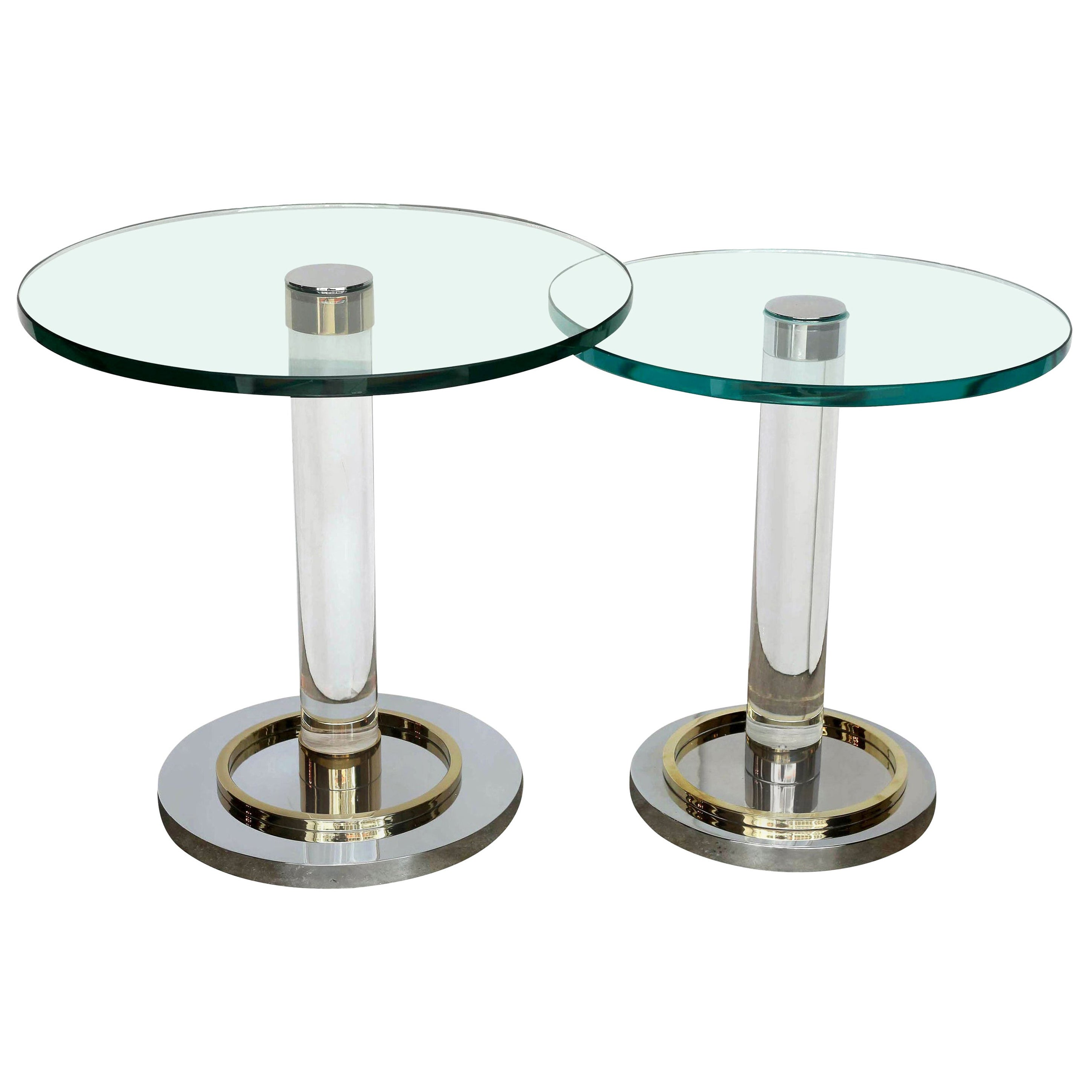 2 Charles Hollis Jones Stair-Stepped Lucite, Glass, Brass and Chrome Side Tables