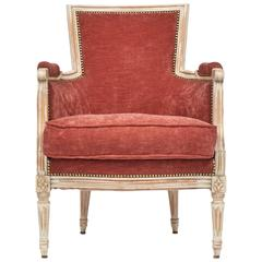 French Louis XVI Rose Velvet Bergere