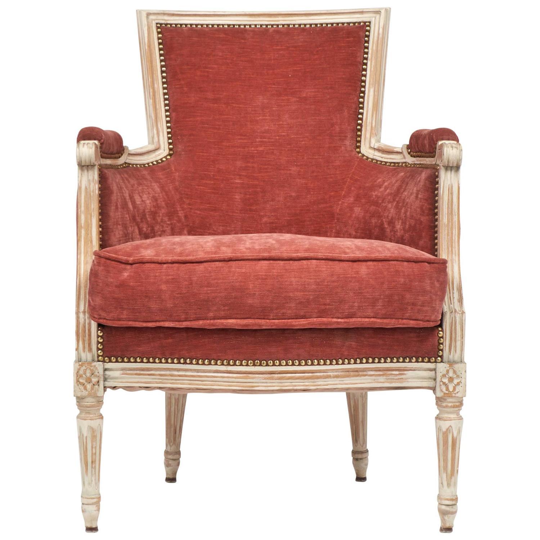 french louis xvi rose velvet bergere for sale at 1stdibs. Black Bedroom Furniture Sets. Home Design Ideas